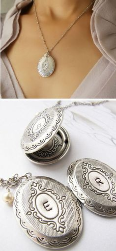 Initial Locket Necklace <3 would love this to add some home made solid perfume inside