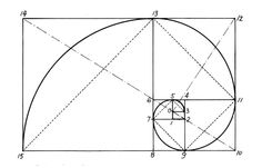 Successive points dividing a golden rectangle into squares lie on a logarithmic spiral which is sometimes known as the golden spiral.