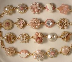 Blush Pink, Ivory & Cream Bridesmaids Bracelets made by Amore Treasure on Etsy, just beautiful..buttons and earrings
