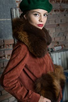 suede jacket with fox collar and oversize fox pockets