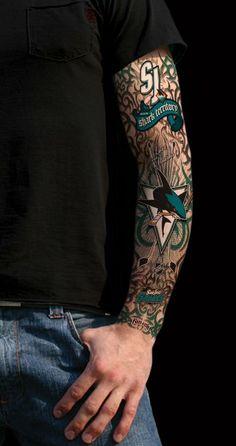 I'm Sharks crazy. I love this. -- Amazon.com: San Jose Sharks FanInk Spirit Tattoo Sleeve Size One Size: Sports & Outdoors