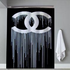 Chanel Coco Logo Black Shower Curtain Design Vintage