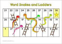 Editable word snakes and ladders game board (SB8397) - SparkleBox