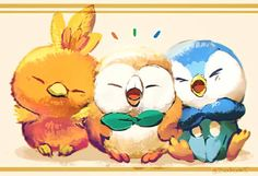 torchic, rowlet y piplup