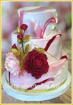 Weeding cake - cake by Shereen Adel Cake Icing, Fondant Cakes, Cupcake Cakes, Pretty Cakes, Beautiful Cakes, Amazing Cakes, Marbel Cake, Edible Flowers Cake, Dessert Decoration