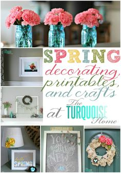 Spring Decorating, Printables and Crafts at TheTurquoiseHome.com