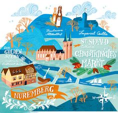 Nuremberg map illustration for Jamie Magazine by Cecilie Ellefsen - I lived here for 3 months!
