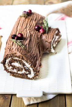 One of my favorite cakes to make during the holiday season is this bûche de nöel. The cake is a holiday tradition for the French made during Christmas time. In America, we know the cake as a yule log cake, but the reason I love it so much is that it's such an easy way to make an impressive, festive cake without any fancy cake decorating skills. I've seen tutorials for painted cakes with marzipan-crafted toppings that are beautiful but incredibly time-consuming and require extensive skill to…