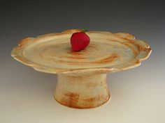 Ceramic Cake Stand in Rustic White  Flower by DirtKickerPottery, $75.00