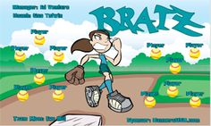 Bratz digitally printed vinyl Softball sports team banner. Made in the USA and shipped fast by Banners USA. http://www.bannersusa.com/art/templates_2/digital/banners/DSB_banners.php