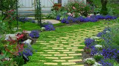 Living Patio with yellow brick. #garden #backyard #yellow    The purple flowers really make the colors pop in this garden pathway.