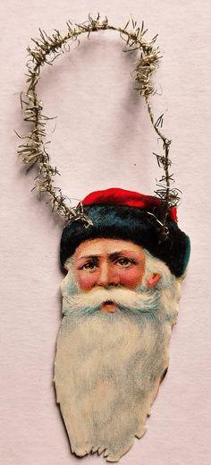 Antique Scrap Ornament... Santa Head Scrap.