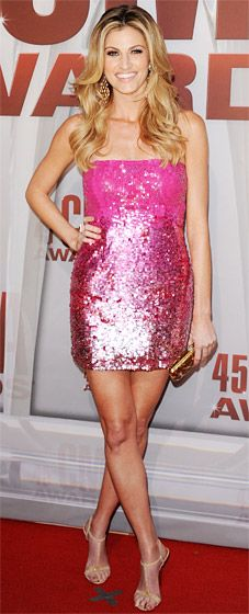 Erin Andrews - The ESPN host sizzled in a sparkly hot pink strapless alice + olivia mini and strappy sandals.  - 2011 CMA Awards