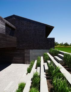 The house is pushed gently into the hillside. This helps reduce the outward appearance of the building and its impact on the landscape.