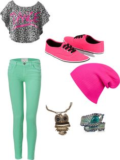 """mint skinnies hot pink accents"" by brandyayers on Polyvore"
