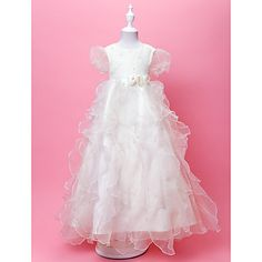 A-line Jewel Floor-length Organza And Satin Flower Girl Dress  – USD $ 69.99