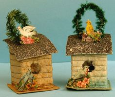 Antique Christmas Ornaments Paper nativity houses