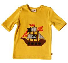 Sam & Sydney Pirate Ship Applique T-Shirt for Baby and Toddler Boys, $28.00.  Sizes range from 12 Months to 4T. #boys #kidsfashion #pirates