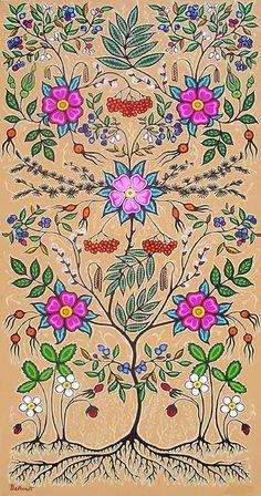 "Christi Belcourt :: ""Little Grandma"" Based on Tradition, Inspired by Nature.very nice.very very nice. Indian Beadwork, Native Beadwork, Native Art, Native American Art, Native Indian, Flower Images, Flower Art, Indian Flowers, Indian Tapestry"