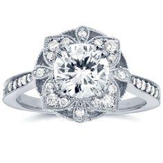 Annello by Kobelli 14k Gold 1 1/4ct TDW Round Diamond Antique Engagement Ring