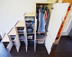 Downsizing can be tough. Here is a creative way to add clothing storage under yo Tiny House On Wheels Add clothing Creative Downsizing Storage tough Tiny House Stairs, Loft Stairs, Tiny House Living, Under Stairs, Tiny House Plans, Tiny House On Wheels, Tiny House Closet, Tiny House Bedroom, Tiny House With Loft