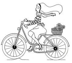 Раскраска барби на велосипеде