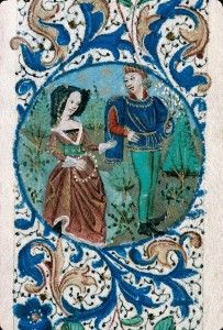 Foliate border with a medieval couple Book of Hours for the use of Rouen (France), ca. 1460-1470