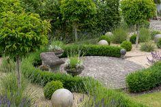 Ordnance House in August Garden Urns, Garden Plants, Patio Design, Garden Design, Circular Patio, Bird Bath Fountain, Stone Bench, Back Gardens, Garden Bridge