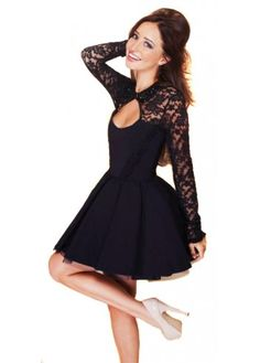 Find More Prom Dresses Information about Custom Made 2014 Black Lace Short Puffy Prom Dress Long Sleeve Formal Dress with Open Back Sexy Evening Dress Vestido Curto,High Quality dress map,China dress daughter Suppliers, Cheap dress formal dress from New F Semi Dresses, Cheap Formal Dresses, Prom Dresses Long With Sleeves, Hoco Dresses, Homecoming Dresses, Pretty Dresses, Beautiful Dresses, Dress Long, Chiffon Dresses