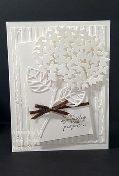 Clean and simple monochromatic sympathy card. Elements include Stampin Up Petite Pairs stamp set and Beautiful Branches Thinlets.
