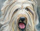 BRIARD Chien Berger de Brie Dog 15x11 Watercolor Print
