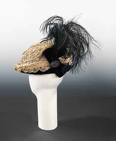 Hat 1910, French, Made of silk, linen, and feathers