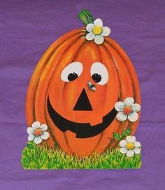 vintage HAPPY JACK-O-LANTERN WITH FLOWERS & FLY DECORATION cutout