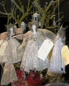 sweet lace angels   ********************************************   (repin) - #shabby #chic #romantic #cottage #handmade #Christmas #ornaments #angels #angel #crafts - ≈√