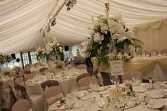 Flower Design Events: Crystal candelabras for a Wedding at The Inn at Whitewell White Wedding Flowers, Bridal Flowers, Flower Bouquet Wedding, Crystal Candelabra, Dream Wedding, Wedding Day, Shades Of White, Flower Designs, Wedding Reception