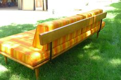 Vintage Mid Century Sofa Couch Bed Maple Frame Retro Excellent Condition | eBay