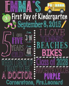 First Day of School Sign - First Day of Preschool - First Day of Kindergarten…