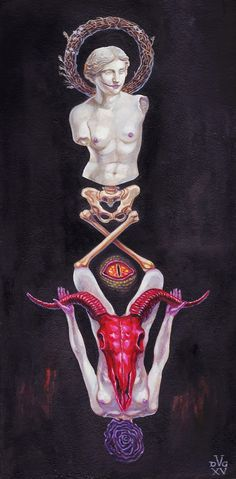 David Van Gough's - Putrefying Venus - Oil on Canvas - Nude - Pagan - Skull - Rose - davidgoughart.com