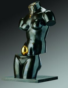 """Salvador Dalí """"Space Venus"""" Bronze green and gold patina is divided into two parts to reveal the egg 1984"""