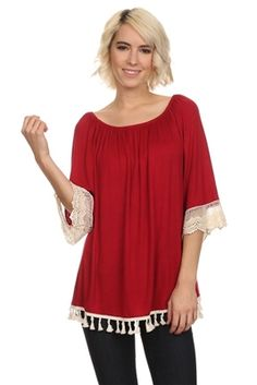 Red lace trimmed top.  Available in small - 3 xl.