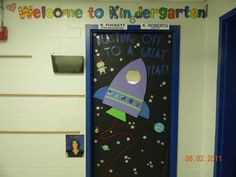 Space themed classroom door I made for back to school!