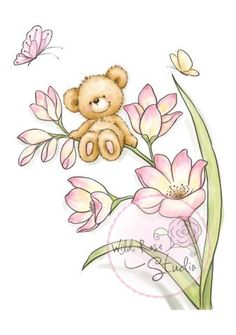 Wild Rose Studio Clear Stamp - Bear on Flowers