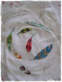 """ blowing in the wind"" more feather embroideries by peregrine blue, via Flickr"