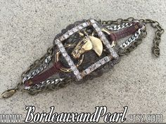 """May Challenge """"Critter Country"""" https://www.etsy.com/listing/280018860/vintage-rhinestones-antique-brass-horse"""