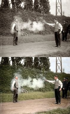 W.H. Murphy and his Associate Demonstrating their Bulletproof Vest on October 13, 1923 | Colourised by zuzahin