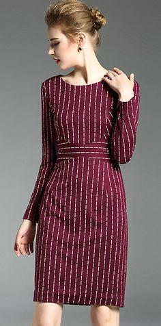 Brief O-Neck Long Sleeve Striped Bodycon Dress