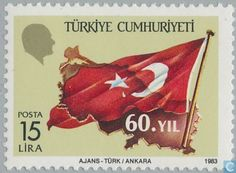 Postage Stamps - Turkey - Turkish flag and map
