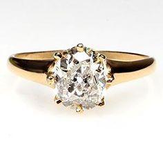 Old Miner Cut Diamond Antique Engagement Ring Solid 14k Gold - EraGem