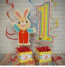 Harry the Bunny Birthday Party Personalized Table Centerpiece