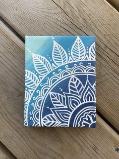 Hand Painted Blue Ombre Mandala / Acrylic Canvas Painting / Wall Art / Painting on Canvas / Canvas Wall Art Small Canvas Paintings, Easy Canvas Art, Small Canvas Art, Mini Canvas Art, Easy Canvas Painting, Acrylic Canvas, Blue Canvas Art, Painted Canvas, Canvas Canvas